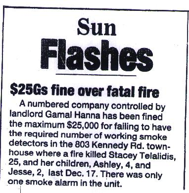 Sun Flashes - $25Gs fine over fatal fire